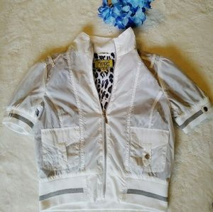 Windbreaker Maralyn & Me White Animal Jacket Sz M